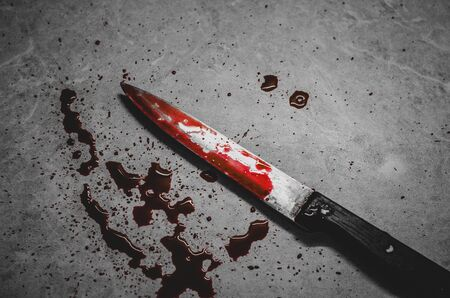 Bloody knife lies on the creepy messy background. Concept of a domestic killings and horror movies