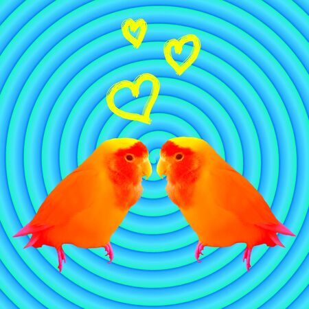 Two beloved parrots on a blue hypnotic background contemporary art collage. Concept of love Reklamní fotografie - 130798844