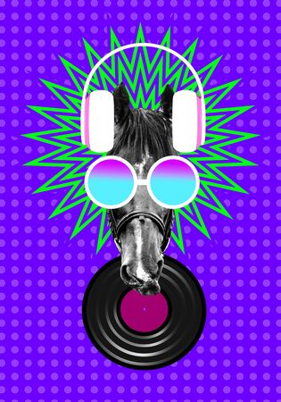 Horse in headphones and glasses as a concept of music lover contemporary art collage with 3D illustration elements. Enjoying favorite song Stockfoto