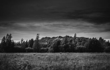 Black hills on a gloomy cloudy summer day not long before the thunder storm