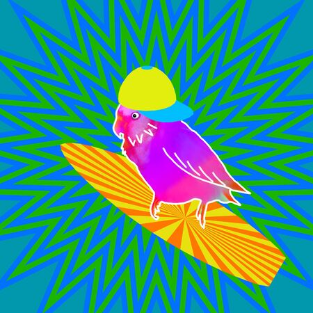 Funny parrot on a surfboard summer contemporary art collage. Concept of holiday leisure time and fun Stok Fotoğraf