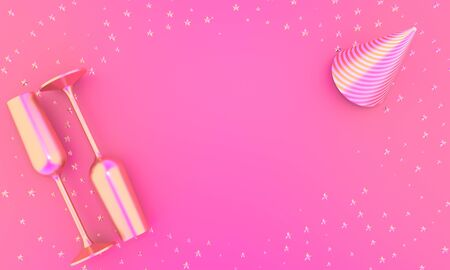 Two glasses of champagne and holiday hat on pink background horizontal 3D illustration with copy space. Festive flat lay for birthday or any party Reklamní fotografie