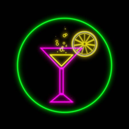 A glass of a cocktail and slice of a lemon neon 3D illustration on black background. Glowing bar signboard