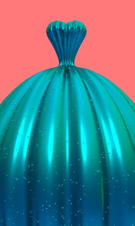 Turquoise gown for ball or prom on coral background 3D illustration. Vertical invitation with copy space