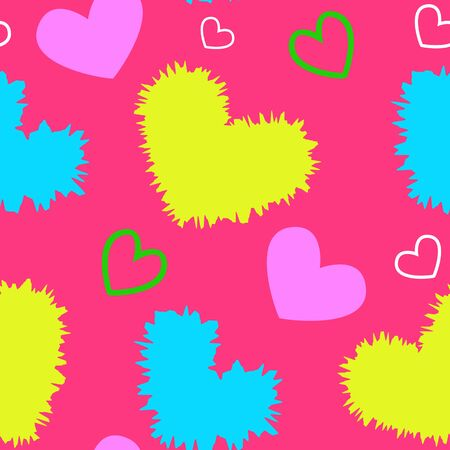 Vivid colorful hearts on pink background seamless vector backdrop. Fabric design for t-shirt, pajamas or valentines day greeting card