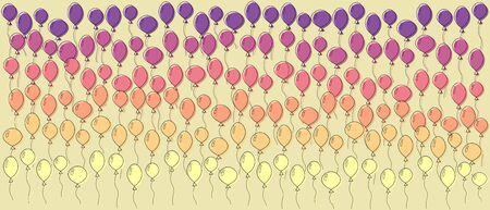 Colorful birthday balloons horizontal design vector illustration. Hand-drawn simple style Vetores