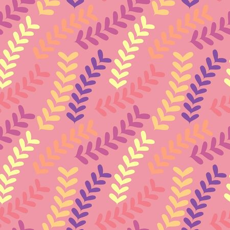 Pastel colored seamless pattern with abstract floral elements on pink background. Design for summer dress or wallpaper Ilustração