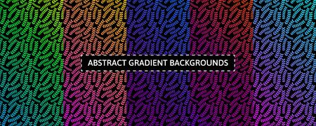 Set of five colorful gradient backgrounds with abstract floral elements. Booklet design Ilustração
