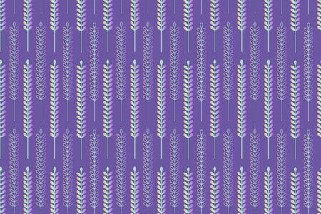 Silver spikelet on violet background seamless pattern. Wallpaper or textile vector design