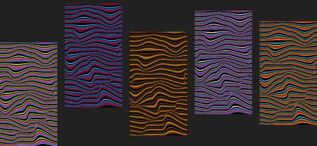 Colorful hypnotic abstract design booklet templates. Vivid psychedelic vector illustration with wavy bright lines. Collection of vertical backgrounds with copy space