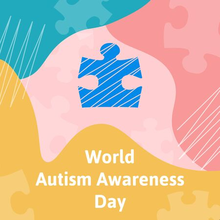 World autism awareness day concept. A piece of puzzle and blue color as symbols of this event. Vector illustration template. Copy space