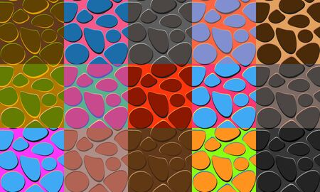 Colorful collection of seamless pattern with paving stones or lizard skin. Cartoon style vector textured background