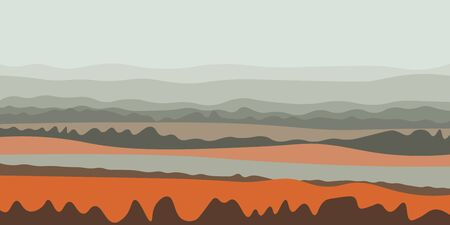 Pleasant landscape with lines of fields and forests in the misty morning in summer or early autumn vector illustration