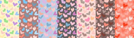 Set of pastel colored seamless patterns with hearts. Vector design for t-shirt, summer dress, bedclothes or underwear Ilustração