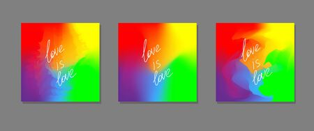 Three rainbow colored square abstract backgrounds with text love is love as a concept of lgbtq rights. Colorful gradient vector templates