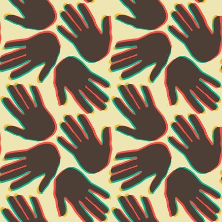 Seamless pattern with lots of handprints on light yellow background. Vector template illustration design for greeting cards or t-shirts Illustration