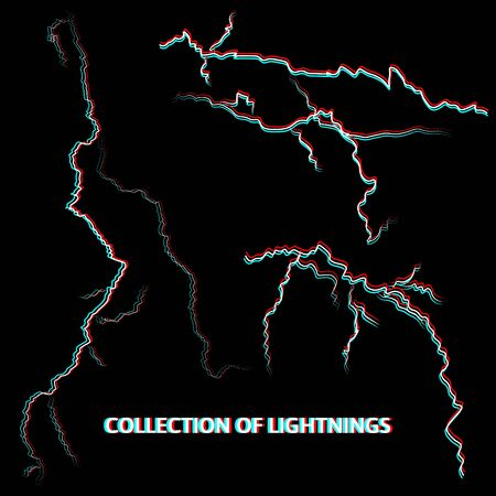 Collection of vector lightnings on black background with anaglyph effect