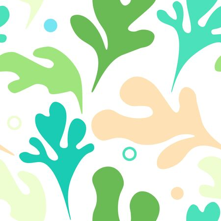 Seamless pattern with seaweed and bubbles on white background. Vintage vector design for clothes and wallpaper