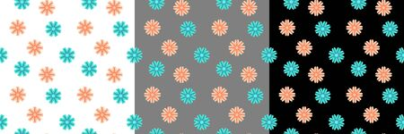 Seamless pattern with small flowers on white, gray and black background. Textile design vector illustration