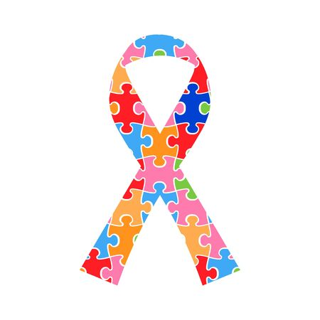 Symbolic ribbon with colorful pieces of puzzle on white background as a concept of world autism awareness day Ilustração