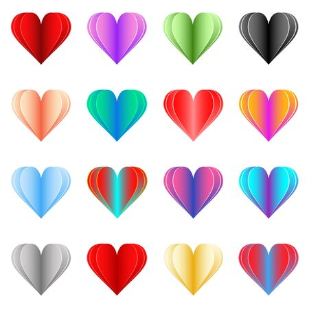 Colorful set of paper cut hearts. Decorative design elements for greeting cards, banners, romantic and holiday compositions. Editable gradient vector elements