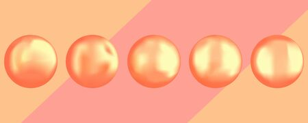 Set of different golden round pearls. Photorealistic gradient mesh vector design elements for any compositions