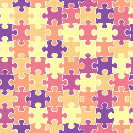 Colorful puzzle seamless backdrop with white contour. Vector illustration design for t-shirts or bedclothes Ilustração