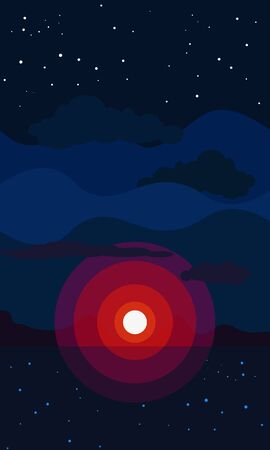Last light of the sun and starry night. Beautiful natural seascape with clouds, sunset and surface of the water. Vertical vector illustration