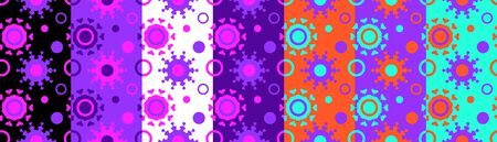 Collection of colorful bright seamless patterns with abstract elements. Vivid vector illustration design Illusztráció