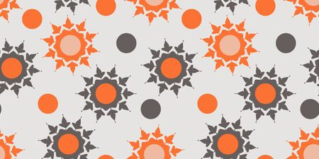 Seamless pattern with orange and gray abstract elements on light background. Vector design for wallpaper wrapper or clothes Imagens - 143668801