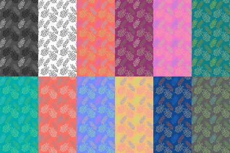 Colorful set of hand-drawn floral seamless pattern on various backgrounds. Vector illustration design for wallpaper or wrapper Imagens - 143668803