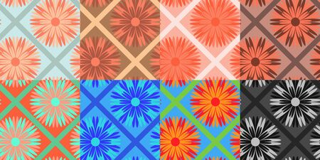 Abstract seamless backgrounds with flowers and geometric elements. Vector design illustration for wallpaper, wrapper or tablecloth Ilustração