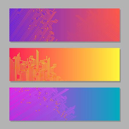 Vivid colorful gradient hi-tech banners with microchip elements and copy space for any text. Bright trendy set. Vector illustration design for sites and special purposes