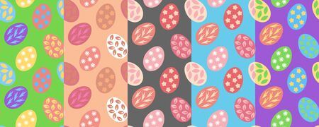 Set of pastel colored seamless patterns with easter eggs. Light spring vector templates for web backgrounds and greeting cards