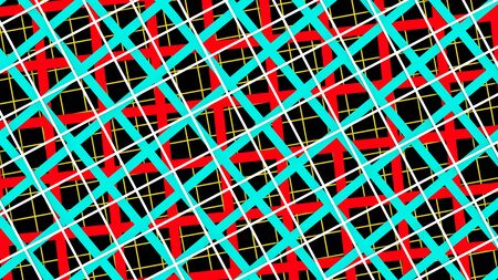 Red blue and white squares abstract horizontal background 3D illustration layered paper style Imagens