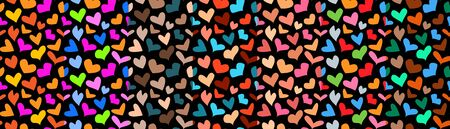 Set of colorful seamless patterns with hearts on black background. Vector design for t-shirt, summer dress, or underwear