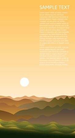 Beautiful abstract landscape with green hills and the sun in the early morning. Vertical vector design with inspiring natural scenic view. Copy space Ilustração