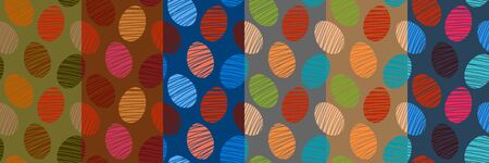 Set of colorful seamless patterns with easter eggs on various backgrounds. Light spring vector templates greeting cards