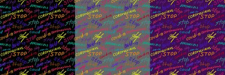 Colorful seamless pattern with words stop coronavirus on various background. Vector set against pandemic Ilustração