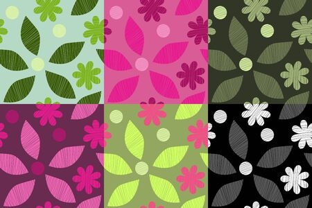 Colorful spring set with flowers and leaves on various background. Pink green and monochrome color decisions for wallpaper or clothes Ilustração