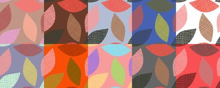 Colorful set of abstract leaves on various backgrounds. Set of seamless patterns. Vector illustrations for wallpapers or clothes