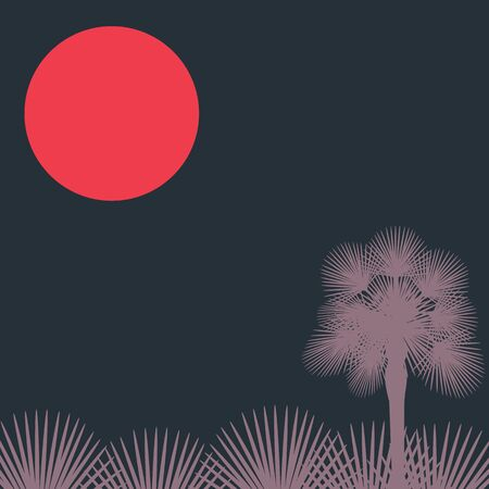 Silhouette of a palm tree and red tropical moon on dark background. Vector illustration with copy space Ilustração