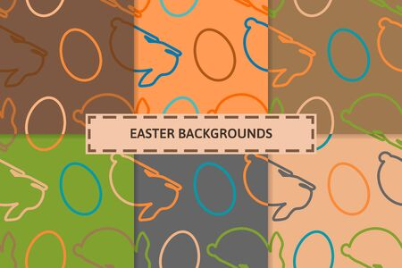 Easter eggs and bunny on various colorful backgrounds. Seasonal seamless patterns. Vector illustration design for greeting cards and wrappers