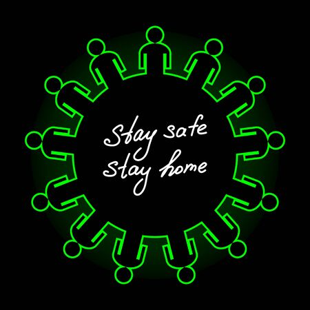 Abstract symbol of coronavirus and lots of people. Concept of quarantine and care about other people health. Covid-19 outbreak self isolation