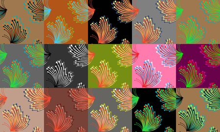 Set of vivid seamless patterns with abstract butterflies. Spring vector templates for web backgrounds and greeting cards