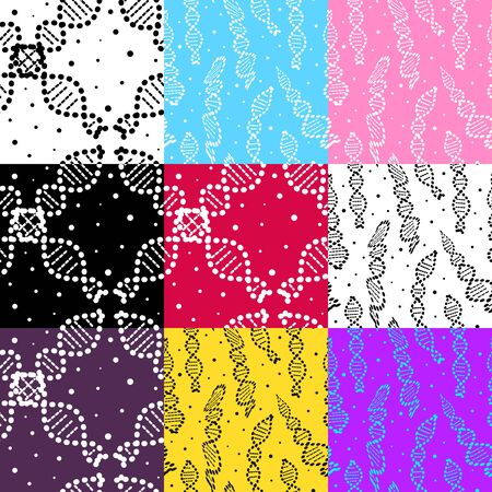 Set of different seamless patterns with dna molecules. Vector illustration design scientific backgrounds