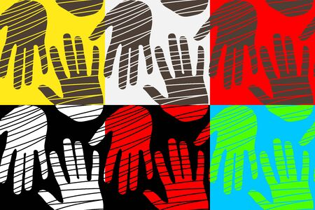 Seamless pattern with handprints on various backgrounds. Vector template illustration design for greeting cards or t-shirts