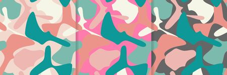 Abstract pastel colored pattern on light pink and gray backgrounds. Vector collection for printing Ilustração