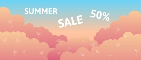 Pastel colored banner with sunrise clouds light blue sky and copy space. Vector illustration template