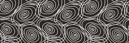 Seamless abstract pattern with white spiral elements on dark background. Vector design illustration for wallpapers and decor Ilustração